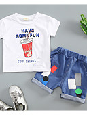 お買い得  新着 メンズシャツ-赤ちゃん 男の子 活発的 / ベーシック 日常 / スポーツ 幾何学模様 半袖 レギュラー コットン アンサンブル ブラウン / 幼児