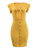 cheap Women's Dresses-Women's Club Mini Skinny Bodycon Dress Deep V Yellow M L XL / Sexy