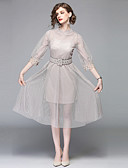 cheap Women's Dresses-Women's Holiday / Going out Vintage / Sophisticated A Line Dress - Solid Colored Mesh Crew Neck Summer Beige L XL XXL