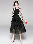 cheap Women's Dresses-Women's Holiday / Going out Vintage / Sophisticated A Line / Little Black Dress - Solid Colored Lace / Ruched / Mesh High Waist Summer Black L XL XXL