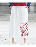 tanie Damskie spodnie-Damskie Aktywny Puszysta Bawełna Spodnie szerokie nogawki Spodnie - Frędzel, Solidne kolory Czarno-czerwony