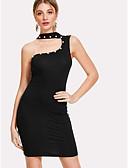 tanie Sukienki-Damskie Wyjściowe Rurki Bodycon Sukienka Na jedno ramię Wysoka talia Mini