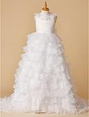 Χαμηλού Κόστους Λουλουδάτα φορέματα για κορίτσια-Βραδινή τουαλέτα Μακριά ουρά Φόρεμα για Κοριτσάκι Λουλουδιών - Δαντέλα / Οργάντζα Αμάνικο Με Κόσμημα με Χάντρες με LAN TING BRIDE® / Άνοιξη / Καλοκαίρι / Φθινόπωρο / Χειμώνας / Γαμήλιο Πάρτι
