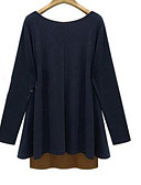 abordables Camisas para Mujer-Mujer Tallas Grandes Algodón Camiseta Un Color / Bloques