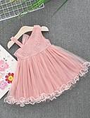 Χαμηλού Κόστους Φορέματα για κορίτσια-Μωρό Κοριτσίστικα Ενεργό Μονόχρωμο Αμάνικο Βαμβάκι Φόρεμα Λευκό / Νήπιο