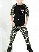 Недорогие Костюмы для мальчиков-Дети Мальчики Активный Уличный стиль Повседневные С принтом Пэчворк С принтом Длинный рукав Обычный Искусственный шёлк Набор одежды Военно-зеленный