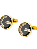 cheap Men's Accessories-Geometric Golden Cufflinks Copper Formal / Classic All Costume Jewelry For Wedding / Formal
