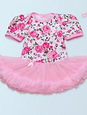 billige Babykjoler-Baby Jente Grunnleggende Trykt mønster Kortermet Polyester Kjole Rød