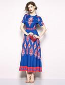 abordables Vestidos de Mujeres-Mujer Boho / Chic de Calle Corte Swing Vestido - Estampado, Geométrico Maxi