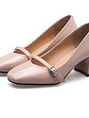 رخيصةأون أوشحة نسائية-للمرأة أحذية Leather نابا / جلد محفوظ ربيع مريح كعوب كعب متوسط أسود / أصفر / زهري