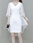 رخيصةأون فساتين للنساء-نسائي أناقة الشارع / راقي قياس كبير نحيل بنطلون - لون سادة أبيض / مناسب للحفلات / V رقبة / عمل / مثير