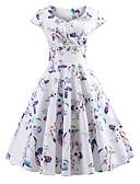 hesapli Vintage Kraliçesi-Kadın's Parti Dışarı Çıkma Vintage 1950'ler Pamuklu A Şekilli Elbise - Çiçekli, Desen V Yaka Diz-boyu