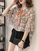 ieftine Bluză-bluză subțire pentru femei - gât rotund solid colorat