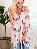 ieftine Tricou-tricou pentru femei - gât rotund floral