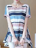 ieftine Bluză-bluza pentru femei - bloc de culoare / gât rotund dungat