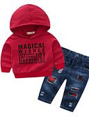 billige Sett med Gutter babyklær-Baby Gutt Grunnleggende Daglig Ensfarget Langermet Normal Polyester Tøysett Rød
