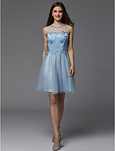 cheap Prom Dresses-A-Line Jewel Neck Short / Mini Lace / Tulle Cocktail Party Dress with Beading by TS Couture®