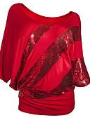 baratos Blusas Femininas-t-shirt feminina - decote redondo em cor sólida