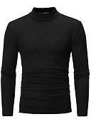 ieftine Maieu & Tricouri Bărbați-Bărbați Guler Pe Gât Tricou Bumbac De Bază - Mată / Manșon Lung