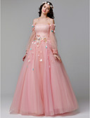 cheap Prom Dresses-A-Line Off Shoulder Floor Length Lace / Tulle Prom / Formal Evening Dress with Appliques by TS Couture®