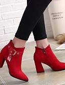 cheap Robes & Sleepwear-Women's Shoes Suede Winter Comfort Boots Chunky Heel Black / Red