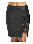 povoljno Majica s rukavima-Žene Veći konfekcijski brojevi Bodycon Aktivan Pamuk Suknje - Jednobojni Crno-crvena, Drapirano