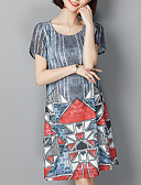 baratos Vestidos Plus Size-Mulheres Moda de Rua Chifon Vestido Altura dos Joelhos