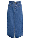 cheap Women's Skirts-Women's Going out Denim A Line Skirts - Solid Colored