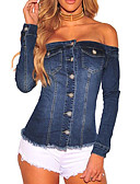 cheap Women's Pants-Women's Sexy / Street chic Denim Jacket - Solid Colored, Tassel