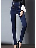 tanie Sukienki-Damskie Puszysta Bawełna Jeansy Spodnie Solidne kolory Wysoka talia