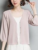 ieftine Bluză-Pentru femei Ieșire Mată Lungime Manșon 3/4 Regular Cardigan, În V Vară Negru / Bej / Camel XL / XXL / XXXL