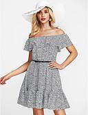 זול שמלות מקרית-סירה מתחת לכתפיים מעל הברך דפוס, פרחוני - שמלה משוחרר חגים בגדי ריקוד נשים