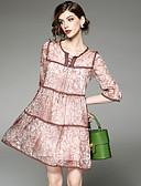 זול שמלות נשים-מעל הברך שרוכים לכל האורך / דפוס שמלה גזרת A בסיסי בגדי ריקוד נשים