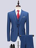ieftine Blazer & Costume de Bărbați-Bărbați Petrecere / Muncă Primăvara & toamnă Regular Costume, Mată Guler Cămașă Manșon Lung Celofibră / Spandex Albastru piscină 4XL / XXXXXL / XXXXXXL / Business Formal / Zvelt