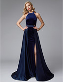 cheap Prom Dresses-A-Line Jewel Neck Sweep / Brush Train Satin / Velvet Two Piece Prom / Formal Evening Dress with Split Front by TS Couture®