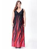 ieftine Rochii de Damă-Pentru femei Boho / Elegant Mărime Plus Size Zvelt Pantaloni - Dungi Imprimeu Talie Înaltă Roșu-aprins / Maxi / În V / Ieșire / Plajă