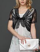 ieftine Eșarfe Femei-Pentru femei Zilnic Vintage Scurt Jachetă, Mată Rotund Manșon Lung Bumbac / In / Acrilic Plisată Alb / Negru Mărime unică