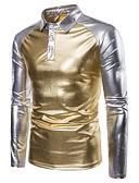 tanie Męskie koszulki polo-Polo Męskie Podstawowy, Patchwork Kołnierzyk koszuli Kolorowy blok / Długi rękaw