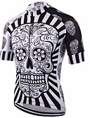 cheap Men's Underwear & Socks-Malciklo Men's Short Sleeves Cycling Jersey - Red / White / Black / White Skull Bike Jersey, Quick Dry, Anatomic Design, Breathable