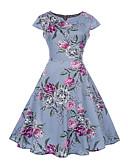 ieftine Regina Vintage-Pentru femei Vintage Swing Rochie Floral Lungime Genunchi