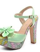 halpa Seksikkäät naisten vaatteet-Naisten Kengät PU Kesä Comfort Sandaalit Stilettikorko Musta / Vihreä / Pinkki