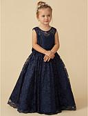 hesapli Çiçekçi Kız Elbiseleri-Balo Abiyesi Taşlı Yaka Yere Kadar Dantelalar Fiyonk / Kurdeleler ile Çiçekçi Kız Elbisesi tarafından LAN TING BRIDE®