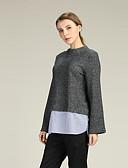 preiswerte Damen Pullover-Damen Aufflackern-Hülsen- Pullover - Solide, Spitze