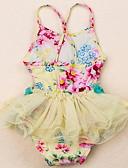 levne Dívčí plavky-Děti Dívčí Plážové Jednobarevné / Květinový Polyester Plavky Žlutá