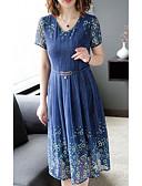 ieftine Romantic Lace-Pentru femei Pantaloni - Floral Talie Înaltă Bleumarin / În V