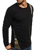 povoljno Muške košulje-Majica s rukavima Muškarci - Aktivan / pretjeran Izlasci / Vikend Jednobojni / Prugasti uzorak Crno-crvena