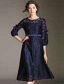 cheap Pajamas & Robes-SHIHUATANG Women's Vintage / Sophisticated A Line Dress - Solid Colored Lace / Bow