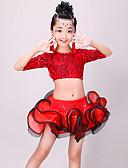 preiswerte Kleidung für Lateinamerikanischen Tanz-Latein-Tanz Austattungen Mädchen Training / Leistung Polyester Spitze / Horizontal gerüscht Halbe Ärmel Hoch Röcke / Top