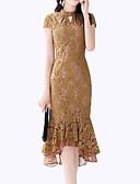 זול שמלות נשים-צווארון עגול קצר מידי תחרה, אחיד - שמלה נדן רזה מידות גדולות וינטאג' סגנון רחוב ליציאה בגדי ריקוד נשים