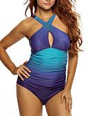 رخيصةأون ملابس السباحة والبيكيني 2017 للنساء-XL XXL XXXL بدون ظهر لون سادة, ملابس السباحة قعطة واحدة مايوه مثير أزرق قبة مرتفعة حول الرقبة رياضي أساسي قياس كبير نسائي